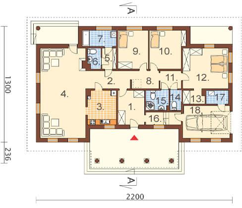 Projekt domu DM-6471 - rzut
