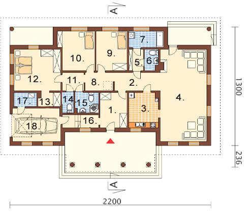 Projekt domu L-6471 - rzut