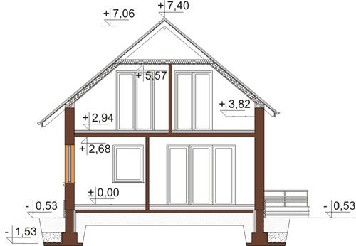 Projekt domu L-6434 - przekrój