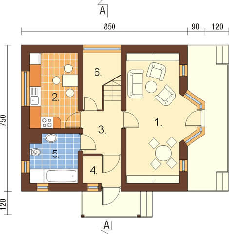 Projekt domu DM-6122 - rzut