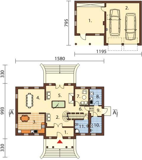 Projekt domu DM-6474 - rzut