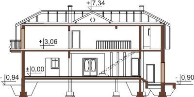 Projekt domu L-6474 - przekrój