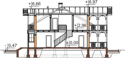 Projekt domu L-6480 - przekrój