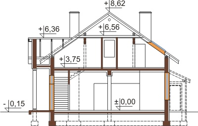 Projekt domu DM-6483 - przekrój