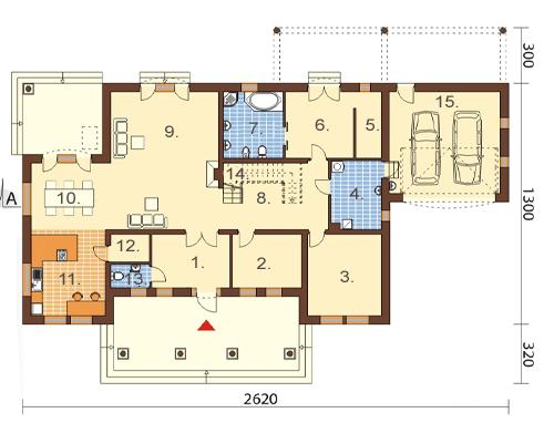 Projekt domu L-6484 - rzut