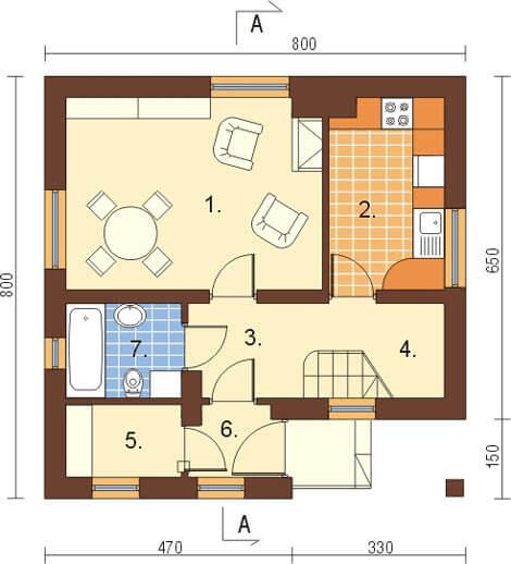 Projekt domu DM-6130 - rzut
